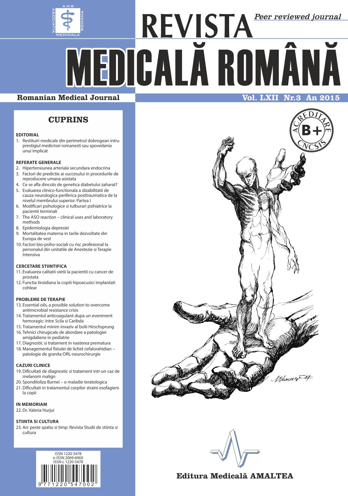 REVISTA MEDICALA ROMANA - Romanian Medical Journal, Vol. LXII, Nr. 3, An 2015