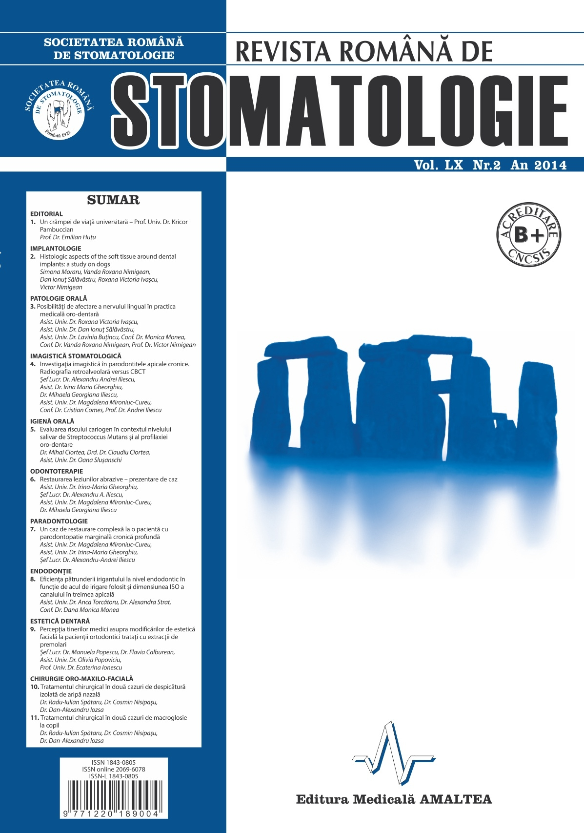 Revista Romana de STOMATOLOGIE - Romanian Journal of Stomatology, Vol. LX, Nr. 2, An 2014