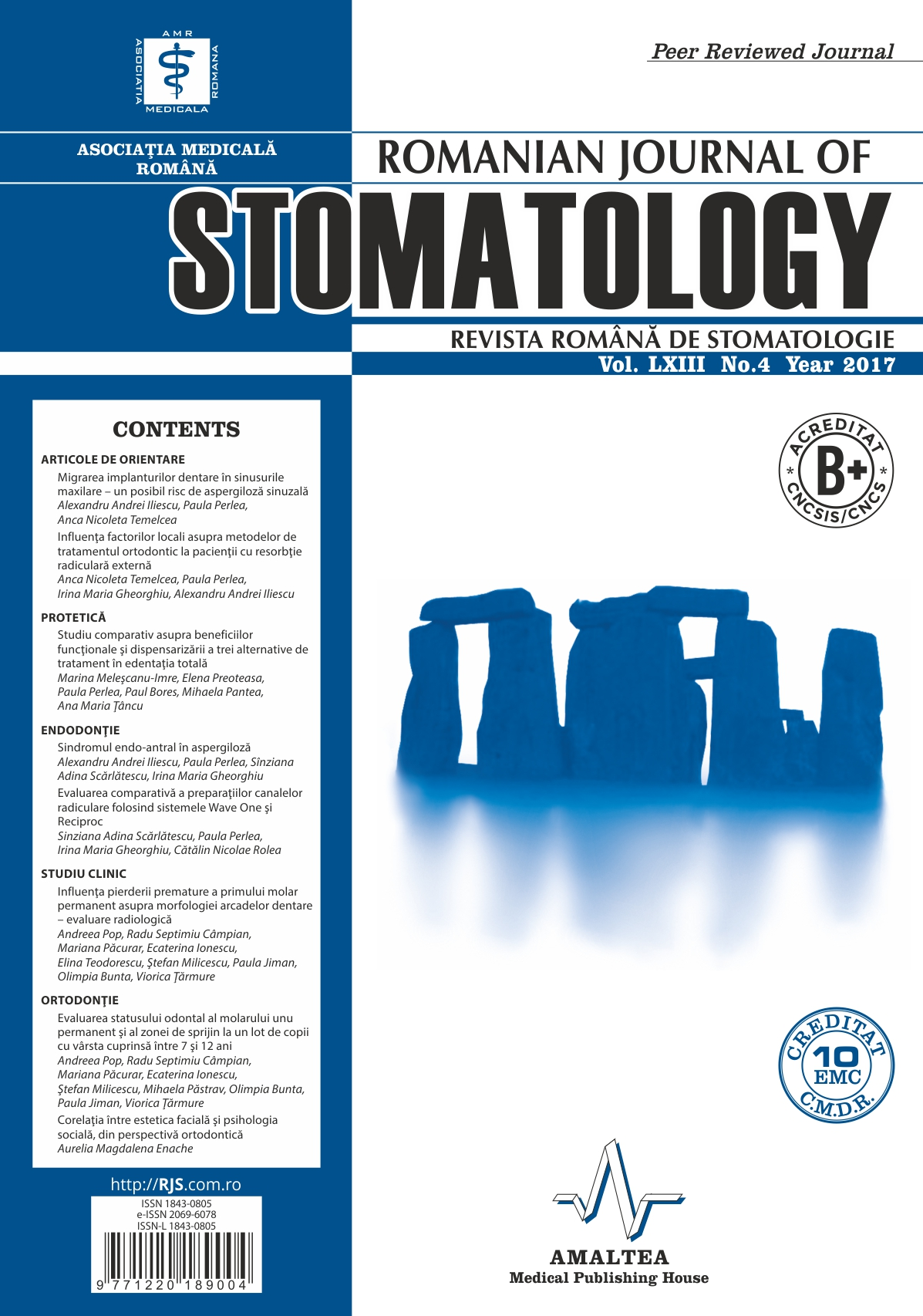 Revista Romana de STOMATOLOGIE - Romanian Journal of Stomatology, Vol. LXIII, Nr. 4, An 2017