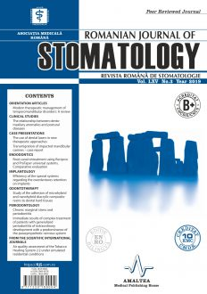 Revista Romana de STOMATOLOGIE - Romanian Journal of Stomatology, Vol. LXV, Nr. 3, An 2019